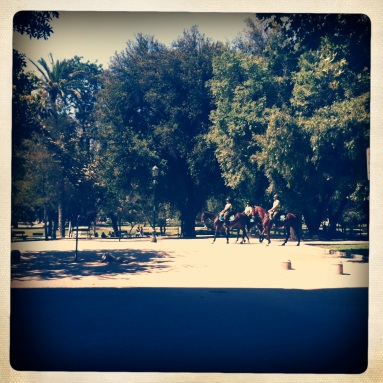 Parque Forestal with Police Men and Lady on Horse