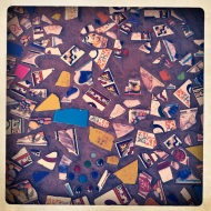 Sidewalk tile mosaic.
