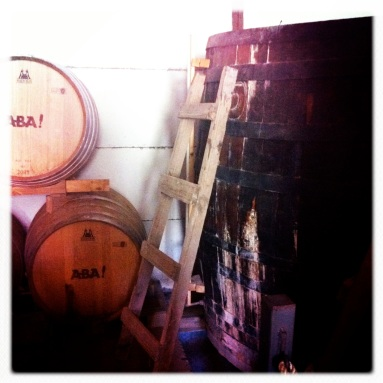 Barrels where Pisco (made of sweet white grapes) is aged.... the longer the aging process the stronger and higher quality...