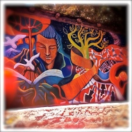 One of the many murals encountered in Pisco Elqui. This part of the valley has an amazing feel, friendly small town people in a magical land receiving endless power and energy from the closeness of the stars above, our ancestors, our kin. MAGIC.