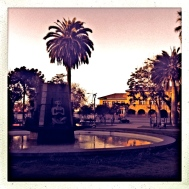 ... plazas with fountains ....