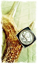 LOW LUV Silver & Bronze Buffalo Coin Ring. Statement.