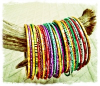 Bright, Colorful Stacked Bangles.