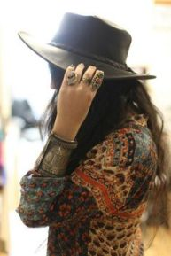 Leather Hat, Jewels & Patterned Blouse