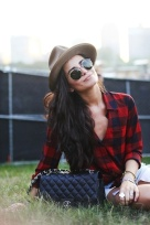 Red Plaid & Camel Fedora