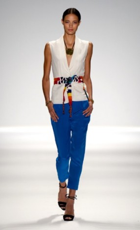 Whimsical Pantsuit with Bold Royal Blue & Crisp White, Accentuated with Colorful Belt