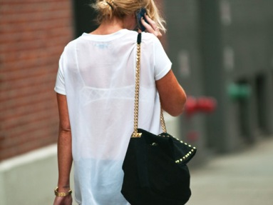 Simple Sheer White Tee & Gold Link Chain Purse