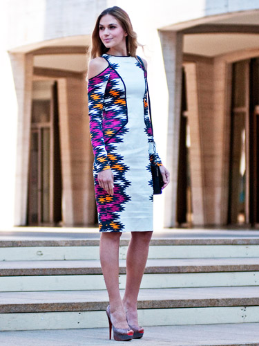 Patterned Body Con, Cut Out Dress