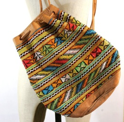 Tribal Print & Drawstring Backpack