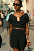 All Black Dress with Brown Accents