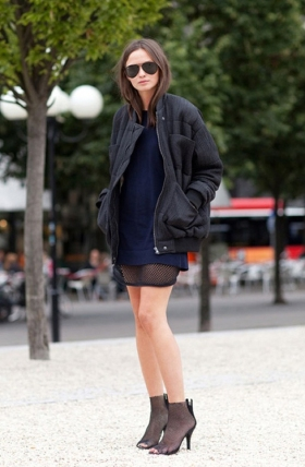 Black Oversized Jacket & Sheer Navy Dress