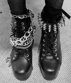 Punk Boots with Studs, Spikes & Chains