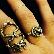 Voce Keen Kissing Serpents Ring & Jenny Bird Coiled Snake Ring